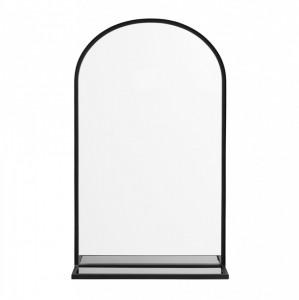 Oglinda cu rama neagra si raft din sticla Iron Nordal