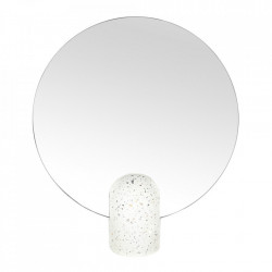 Oglinda de masa rotunda alba din terrazzo 30x34 cm Muzz Zago