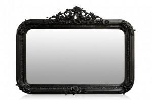 Oglinda dreptunghiulara neagra cu rama din lemn 142x100 cm Baroque Versmissen