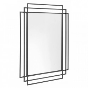 Oglinda dreptunghiulara neagra din metal 76x97 cm Square Nordal