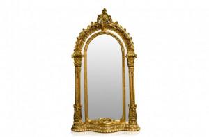 Oglinda ovala aurie cu rama din lemn 134x257 cm Baroque Versmissen