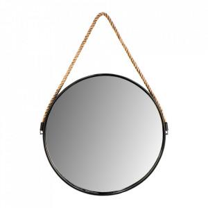 Oglinda rotunda neagra/maro din sfoara si metal 49x68 cm Yona HSM Collection