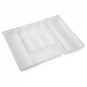 Organizator extensibil alb din plastic pentru tacamuri Alexa Versa Home