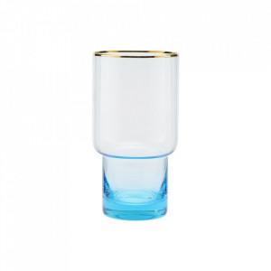 Pahar transparent/albastru din sticla 8,5x16 cm Indora House Doctor