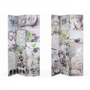 Paravan multicolor din canvas si lemn 180 cm Meditation Bizzotto