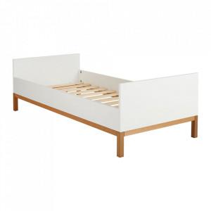 Pat alb din MDF si lemn 95x204 cm Indigo Quax