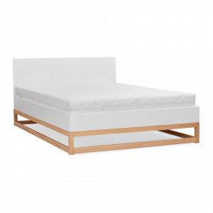 Pat alb/maro din lemn de pin 160x200 cm Karin Natural Skandica