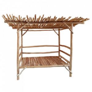 Pat cu baldachin maro din lemn de tec 200x275 cm Skinder Ixia
