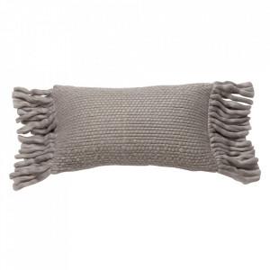 Perna decorativa gri din lana si viscoza 30x50 cm Bo Kids Depot