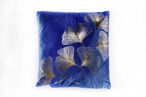 Perna decorativa patrata albastra/aurie din catifea 40x40 cm Victoria Invicta Interior