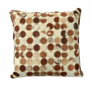 Perna decorativa patrata bej/maro din piele de vaca si bumbac 45x45 cm Kissen Sit Moebel