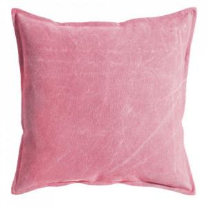 Perna decorativa patrata roz din bumbac 60x60 cm Marple Ixia