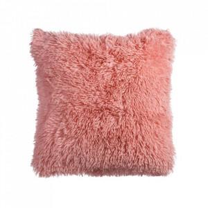 Perna decorativa patrata roz din poliester 45x45 cm Eccles Ixia