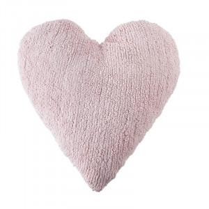 Perna decorativa roz din bumbac pentru copii 47x50 cm Heart Pink Lorena Canals