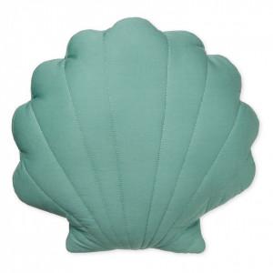 Perna decorativa verde pentru copii din bumbac organic 34x38 cm Sea Shell Canal Green Cam Cam