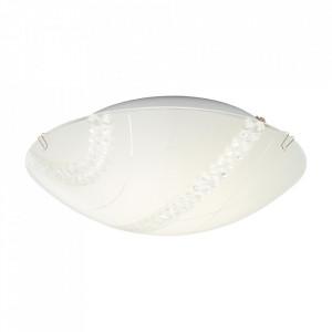 Plafoniera alba/transparenta din sticla si metal cu LED Pinola Brilliant