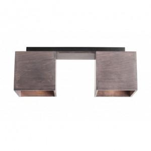 Plafoniera gri din metal si lemn cu 2 becuri Bit Aldex