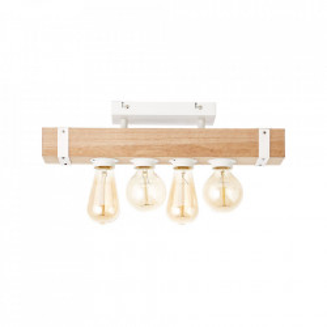 Plafoniera maro/alba din metal si lemn cu 4 becuri White Wood Brilliant