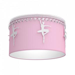 Plafoniera roz din metal si textil Baletnica Round Milagro Lighting