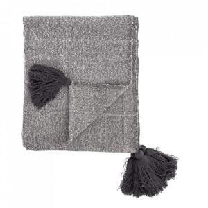 Pled gri din bumbac si fibre acrilice 130x170 cm Anna Bloomingville