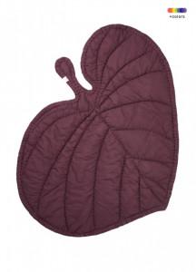 Pled rosu burgund din bumbac organic pentru copii 110x125 cm Leaf Nofred