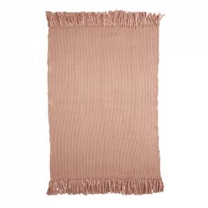 Pled roz din lana si viscoza 120x150 cm Bo Kids Depot