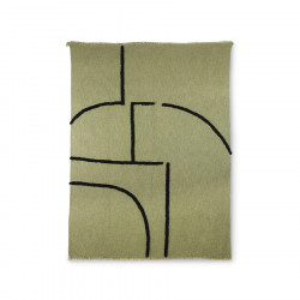 Pled verde fistic/negru din bumbac si poliester 130x170 cm Andorra HK Living
