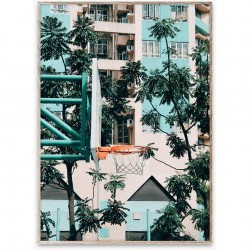 Poster cu rama stejar Cities of Basketball 01 (Hong Kong) Paper Collective