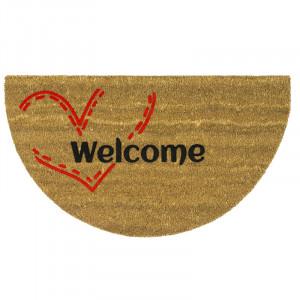 Pres oval maro din fibre de cocos pentru intrare 40x75 cm Welcome Lako