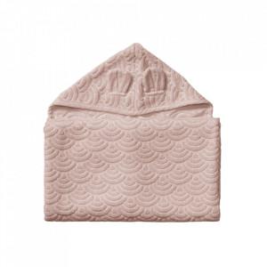 Prosop cu gluga roz din bumbac organic 70x130 cm Junior Dusty Rose Cam Cam