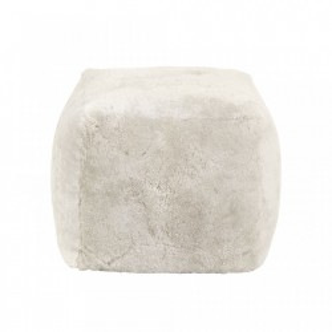 Puf patrat alb din blana si poliester 45x45 cm Sheep Skin Nordal