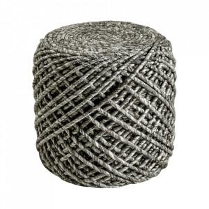 Puf rotund grej din lana si viscoza 40 cm Royal Obsession