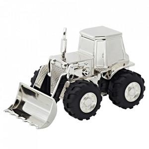 Pusculita din metal argintat Tractor Edzard