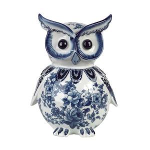 Pusculita din portelan alb/albastru Owl Pols Potten