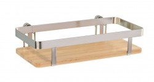 Raft argintiu/maro din metal si lemn 25 cm Premium Universal Shelf Wenko