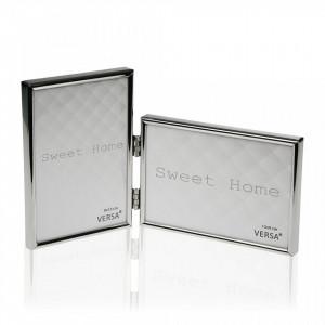 Rama foto argintie din otel 13,1x22,5 cm pentru 2 fotografii Sweet Home Mini Versa Home