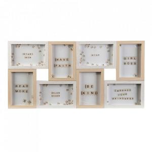 Rama foto maro/alba din lemn pentru 8 fotografii 28x56 cm Lia Versa Home