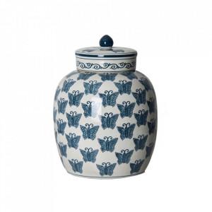 Recipient cu capac alb/albastru din ceramica 25,5x34 cm Flier Vical Home
