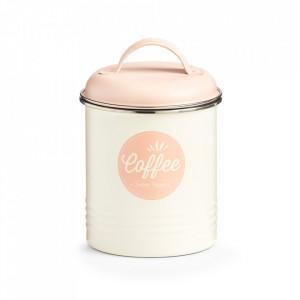 Recipient cu capac crem/roz din metal pentru cafea 11,3x16,5 cm Sweet Coffee Zeller