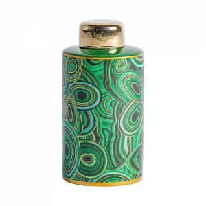 Recipient cu capac multicolor din ceramica 12x25 cm Bashir Vical Home