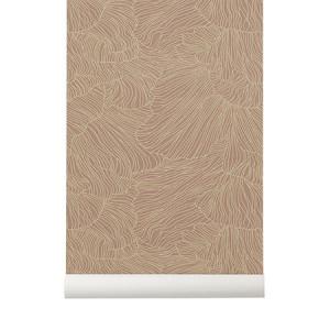 Rola tapet roz/bej 53x1000 cm Coral Ferm Living