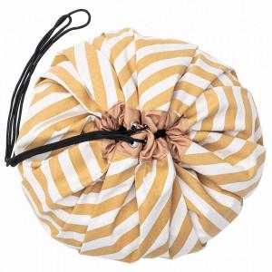 Sac pentru jucarii galben mustar/alb din bumbac si poliester Stripes Play&Go