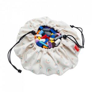 Sac pentru jucarii multicolor din bumbac si poliester Rainbow Mini Play&Go
