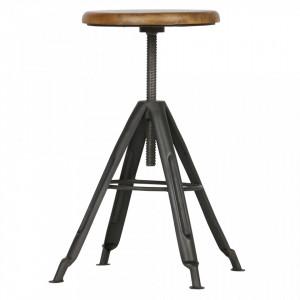 Scaun bar ajustabil negru/maro din lemn de mango si metal Brenna Woood