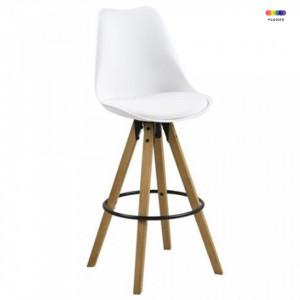 Scaun bar alb/maro din lemn si poliuretan Dima Avi Actona Company