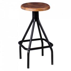 Scaun bar maro/negru din lemn de mango si metal Louis Sit Moebel
