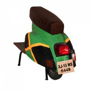 Scaun bar maro/verde din piele si metal Roller Jamaican Sit Moebel