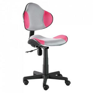 Scaun birou ajustabil gri/roz din textil si metal Q-G2 Signal Meble