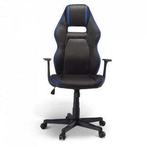 Scaun birou ajustabil negru/albastru din poliuretan si plastic Space Furnhouse