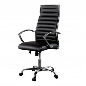 Scaun birou ajustabil negru/argintiu din piele si metal Big Deal Invicta Interior
